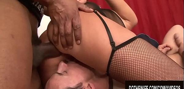 Cuckold Licks Wife Gabriella Daniels as BBC Reams and Creampies Her Asshole