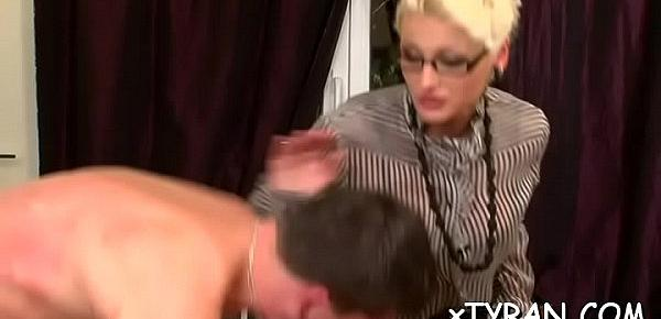 Bdsm fetish action with guy getting hot wax and mouth fucked
