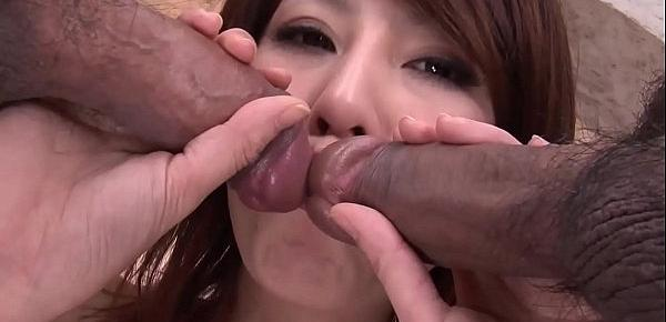 Squealing Asian girl gets three dicks to cover her in cum