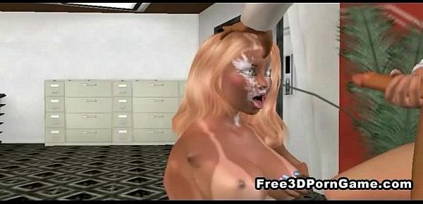 Sexy 3D cartoon blonde gets fucked at the office