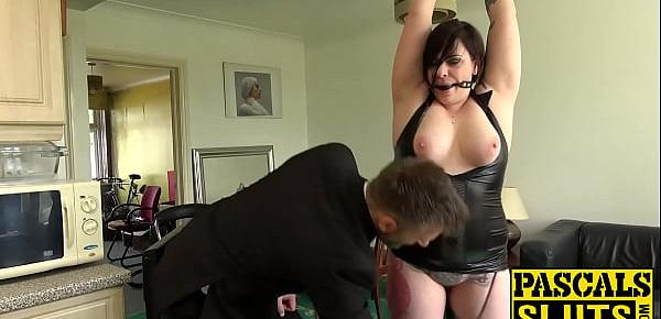 Chubby British woman is ready for hardcore bondage sex