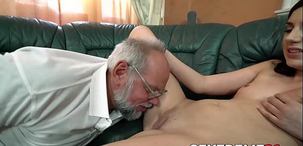 Luscious Miranda Miller blows and rides older cock