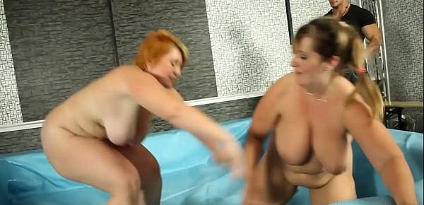 Chubby milf bent over and pussyfucked