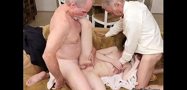 Hot Teen Alex Harper Gets Spit Roasted By Old Men