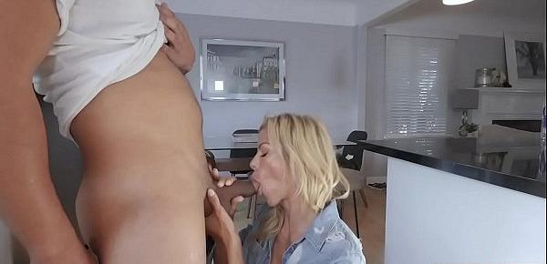 Busty MILF stepmother using her horny stepsons big cock