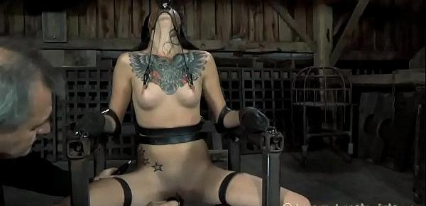 Gagged and tied up slave is being pleasured with vibrator