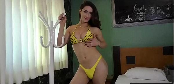Sexy Tranny Adriana Rodrigues Shows Off Her Body and Strokes Her Cock