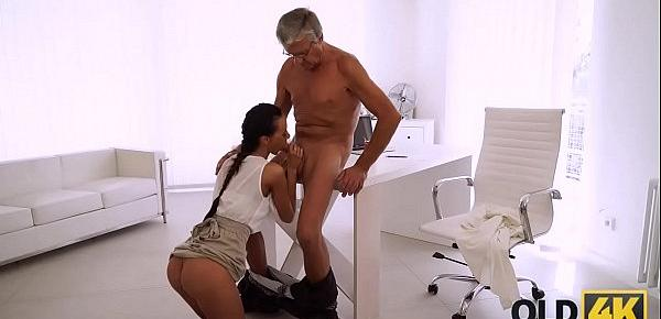 OLD4K. Flawless secretary seduces old man to get another promotion
