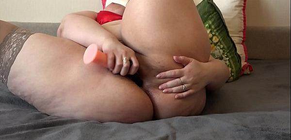 Redhead bbw with big ass fuck anal and hairy pussy, double penetration for double orgasm.