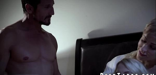 Bearded hunk and his wife fuck stepdaughter Khloe Kapri