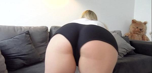 Russian with big ass fucked through green panties