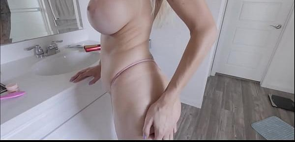 Sexy Blonde MILF Step Mom With Huge Tits Natasha Starr Fucked By Step Son In Bathroom After He Sees Her Taking Selfies POV