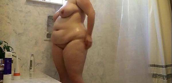 Chubby Teen Cleans Sexy Body & Cums Hard To Shower Head