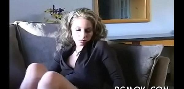 Jaw dropping sweetheart teasing with a cigarette in her throat