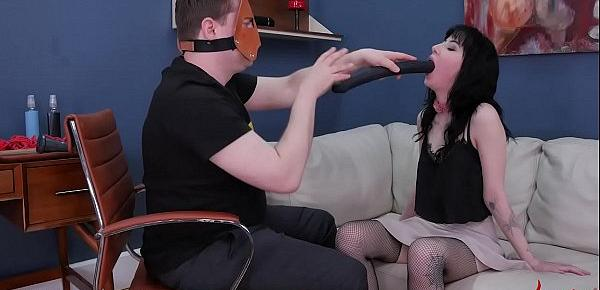 Depraved Goth girl Charlotte Sartre gets brutal BDSM punishment with piss drinking, hard slapping, ass eating, and garbage anal  ATM