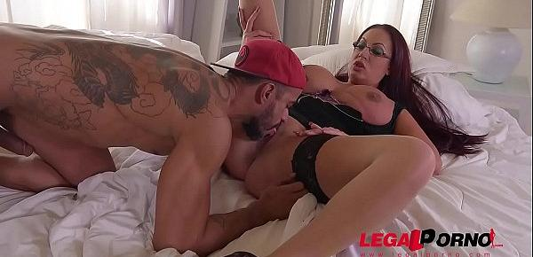 Big butt Emma Butt swallows big veiny shaft for titty fuck & hot pussy bang GP259