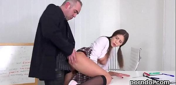 Nice college girl was seduced and drilled by older teacher