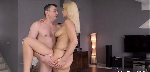 Daddy face sitting and girl sex with old man Sleepy boy missed how