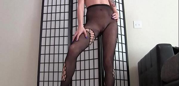 Do you like my sexy new skin tight fishnets JOI