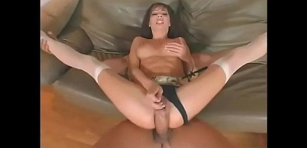 Hot brunette with nice boobs Vanessa Lane plays her pussy with toy while her asshole gets fucked by huge cock