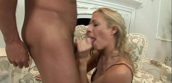 Blonde honey Trinity with nice boobs rides fat dick on sofa and loves it