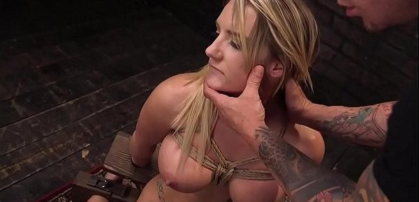 Big tits blonde beauty gets slave training