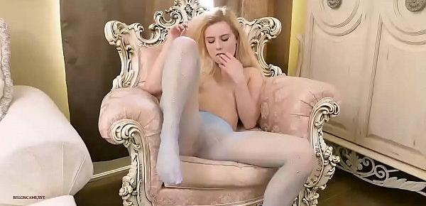Cute blonde strips off and masturbates in sheer Pantyhose - Nyloncams