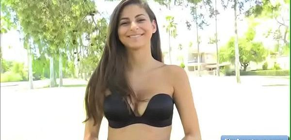 Sexy brunette Nina flash her natural big boob outdoor and walk naked on the freeway