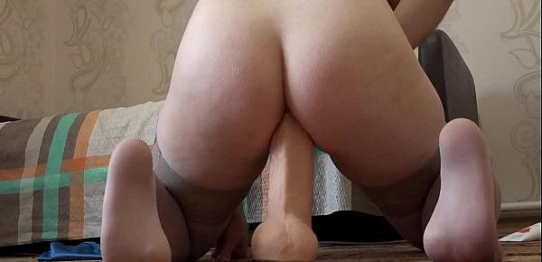Brunette fucks anal with various wide sex toys and gets an orgasm from a huge dildo, gaping anal hole.