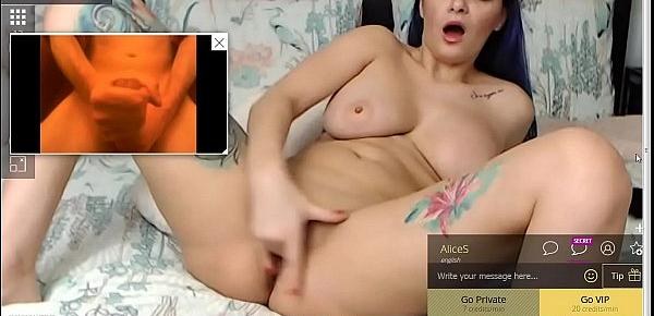 Shooting my hot cum while babe watches.