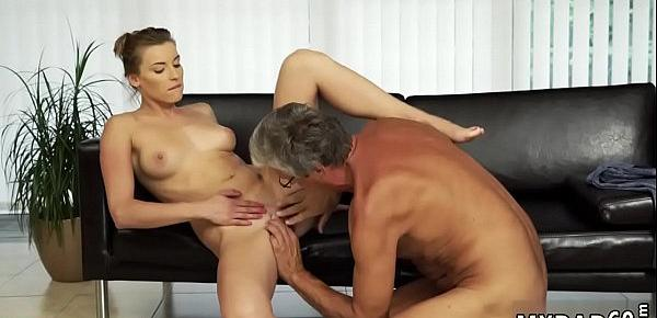 Daddy throat Sex with her boypatron´s father after swimming pool