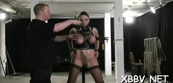 Nude milf gets the tits tied up in amazing slavery sex scenes