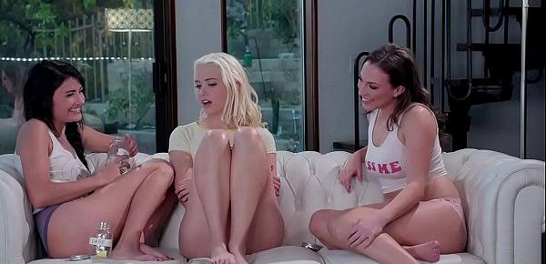 Adria Rae, Chloe Cherry and Lily Love have lesbian threesome sex
