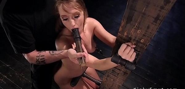 Blonde in bondage gagged with dildo