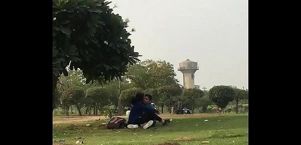 Indian teen lover kissing in park