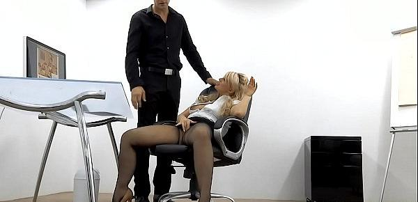 Milf secretary slut Bonnie Rose is fucked balls deep by big cock stud in the office