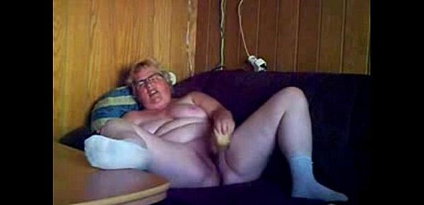 Fat granny loves to be watched while she masturbates