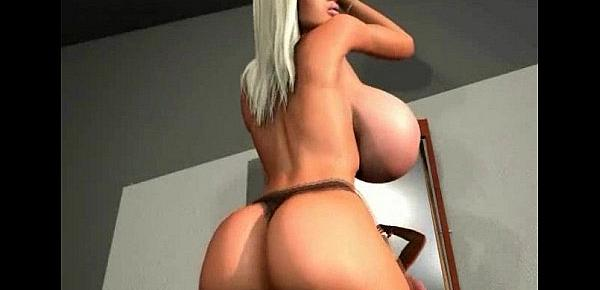 3D Busty Babe Stripping!