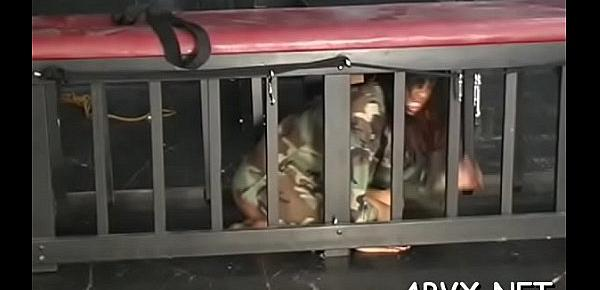 Harsh treatment on older pussy in sexy bondage xxx