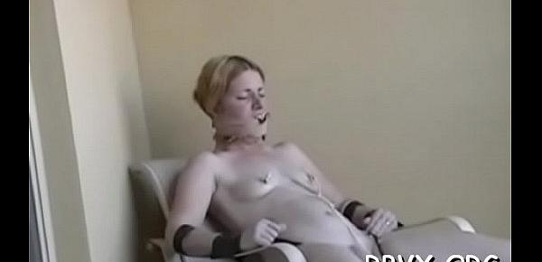 Juvenile babe enjoys being torned and strapped for the camera
