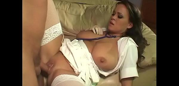 Brunette nurse in white stockings gets her hungry twat fucked hard on couch