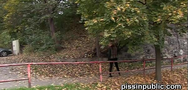 Crazy Czech girls are peeing in the middle of the city and get caught
