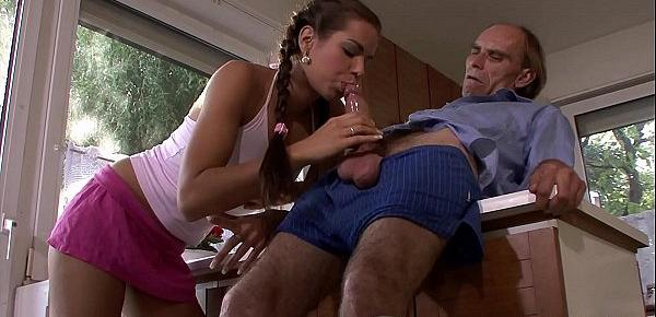 Young pigtailed girl sucks and rides old man&039;s big cock