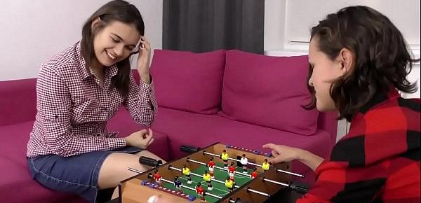 Dutch lesbian teens ride toy together