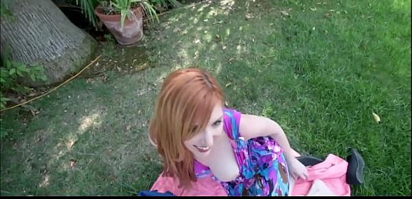 Horny Big Tits Redhead MILF Step Mom Lauren Phillips Outdoor Fuck With Step Son While On A Picnic POV