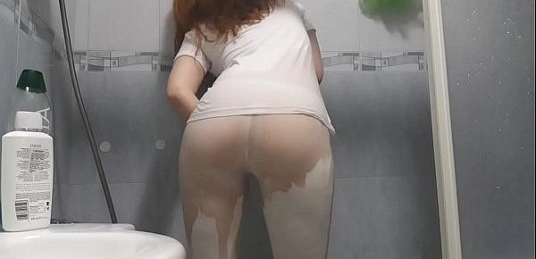 White shirt and tights shower with a redhead!