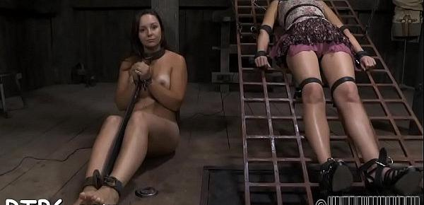Lovely cutie receives facial castigation during bdsm play