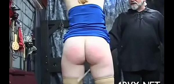 Flaming nude spanking and non-professional extraordinary bondage porn