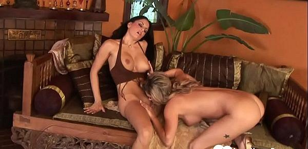 Hot lesbian babes use toys for some pleasure