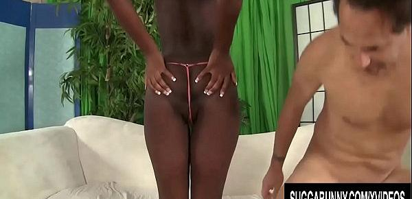 Long Legged Black Hoochie Monica Rae Sucks and Rides a Stiff White Prick